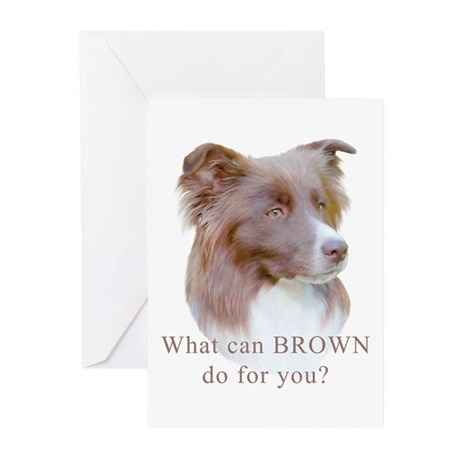 Border Collie BROWN Greeting Cards (6)