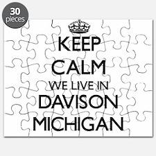 Keep calm we live in Davison Michigan Puzzle