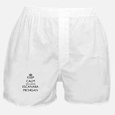 Keep calm we live in Escanaba Michiga Boxer Shorts