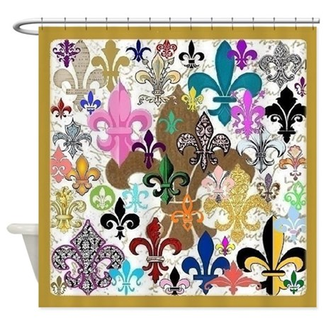 Fleur de lis shower curtain by maggiesheartvintageshoppe - Fleur de lis shower curtains ...