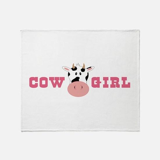 Cow Girl Throw Blanket