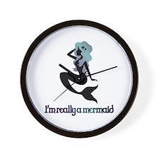 I'm really a mermaid silhouette Wall Clock