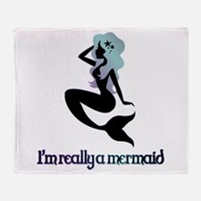 I'm really a mermaid silhouette Throw Blanket