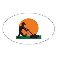 MAN MOWING LAWN Decal