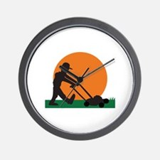 MAN MOWING LAWN Wall Clock
