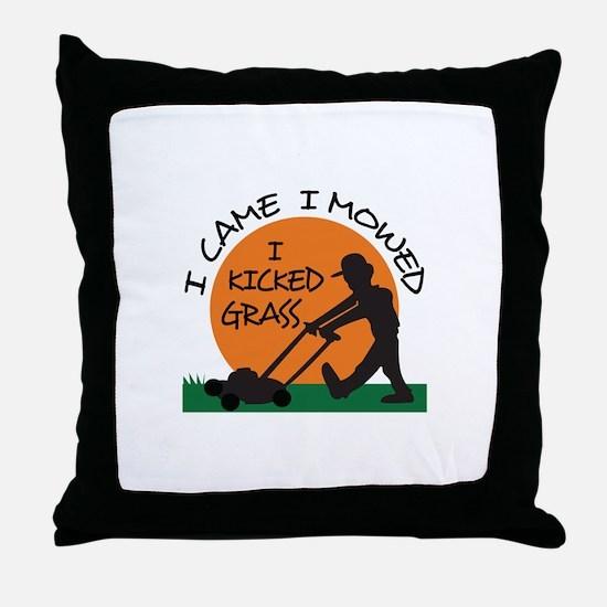 I KICKED GRASS Throw Pillow