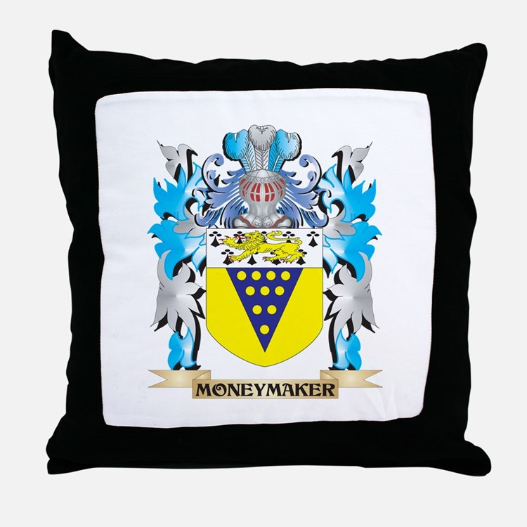 Moneymaker Coat of Arms - Family Cres Throw Pillow