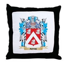 Monk Coat of Arms - Family Crest Throw Pillow