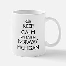 Keep calm we live in Norway Michigan Mugs