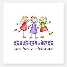"Sisters Square Car Magnet 3"" x 3"""