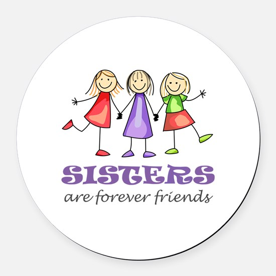 Sisters Round Car Magnet