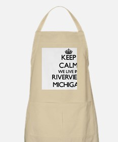 Keep calm we live in Riverview Michigan Apron