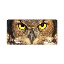 Horned Owl Face Aluminum License Plate