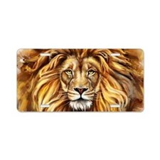 Artistic Lion Face Aluminum License Plate