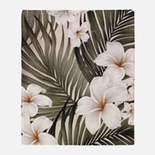 Hibiscus Hawaii Retro Aloha Print Throw Blanket