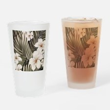 Hibiscus Hawaii Retro Aloha Print Drinking Glass