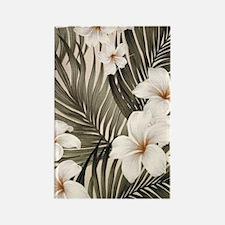 Hibiscus Hawaii Retro Aloha Print Rectangle Magnet