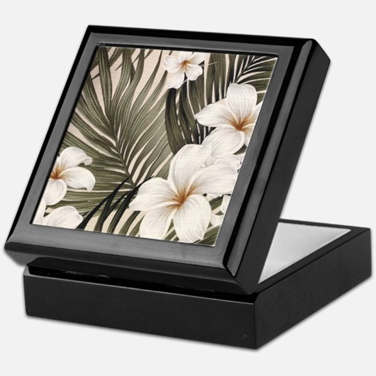 Hibiscus Hawaii Retro Aloha Print Keepsake Box
