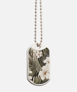 Hibiscus Hawaii Retro Aloha Print Dog Tags