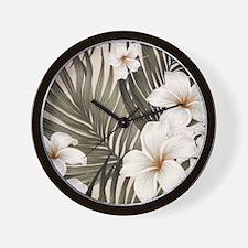 Hibiscus Hawaii Retro Aloha Print Wall Clock