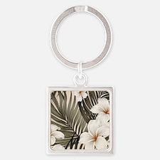 Hibiscus Hawaii Retro Aloha Print Square Keychain