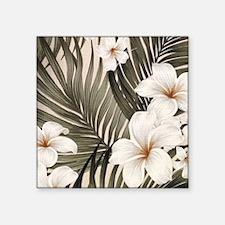 "Hibiscus Hawaii Retro Aloha Square Sticker 3"" x 3"""