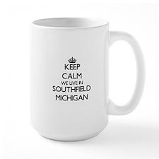 Keep calm we live in Southfield Michigan Mugs