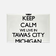 Keep calm we live in Tawas City Michigan Magnets