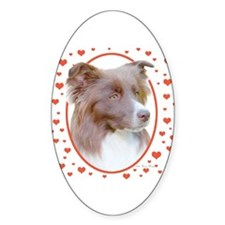 Border Collie Hearts Oval Decal