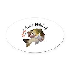 GONE FISHING Oval Car Magnet
