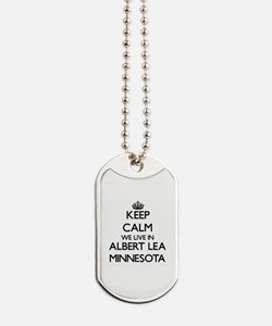 Keep calm we live in Albert Lea Minnesota Dog Tags