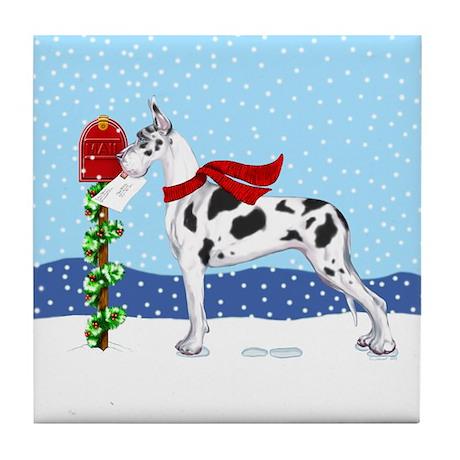 Great Dane Harlequin Mail Tile Coaster