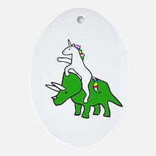 Unicorn Riding Triceratops Ornament (Oval)