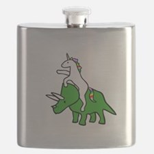 Unicorn Riding Triceratops Flask