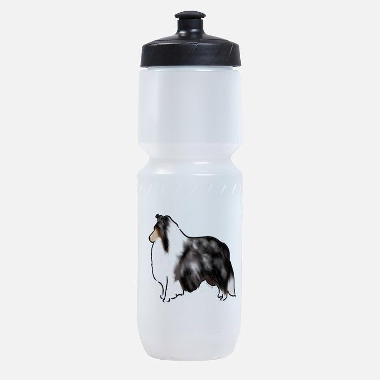 shetland sheepdog blue merle Sports Bottle