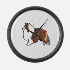 sable sheltie Large Wall Clock