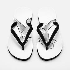 poodle white Flip Flops