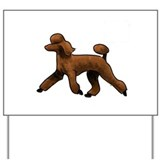 Dog  standard poodle red Yard Signs