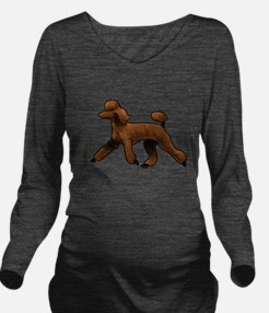 red poodle Long Sleeve Maternity T-Shirt