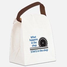 WHAT HAPPENS AT THE SHOP Canvas Lunch Bag