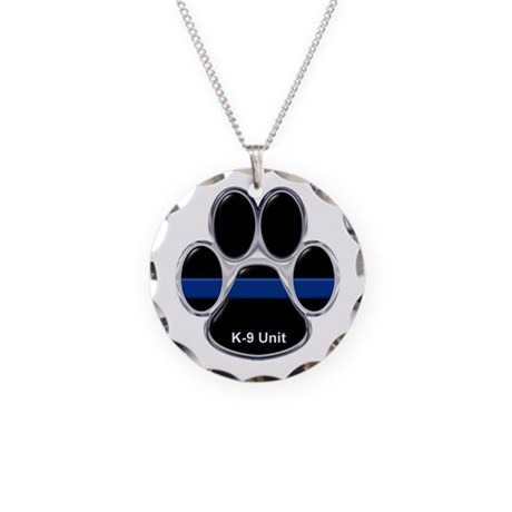 K-9 Unit Thin Blue Line Necklace Circle Charm