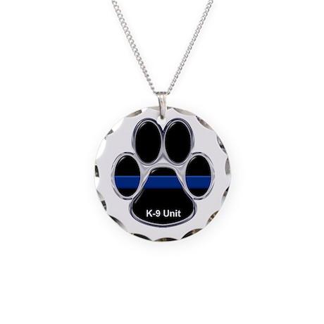 K-9 Unit Thin Blue Line Necklace Circle Charm