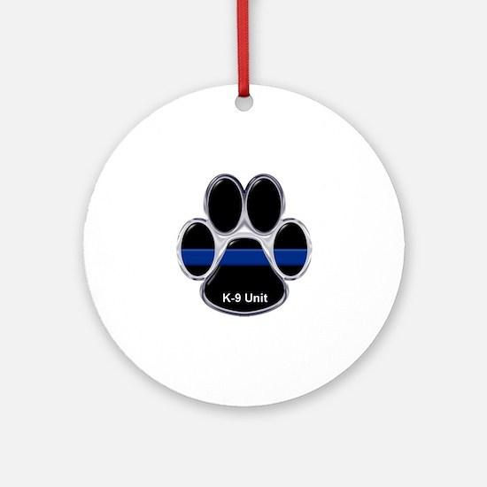 K-9 Unit Thin Blue Line Ornament (Round)