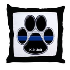 K-9 Unit Thin Blue Line Throw Pillow