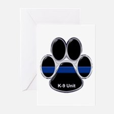 K-9 Unit Thin Blue Line Greeting Cards