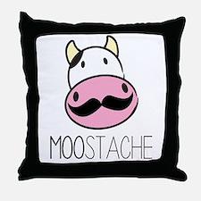 MOOstache Throw Pillow