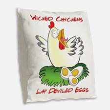 Wicked Chickens lay Deviled Eg Burlap Throw Pillow