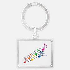 Rainbow Music Notes Landscape Keychain