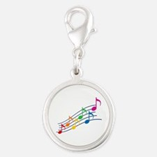 Rainbow Music Notes Silver Round Charm