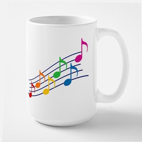 Rainbow Music Notes Large Mug